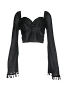 Vtg Dolce And Gabbana Black Bustier Top W Sheer Bell Sleeves, Ss94, 42 It / Us 6