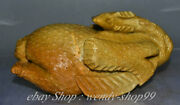 8 Old China Tianhuang Shoushan Stone Carving Roast Chicken Rooster Cock Statue