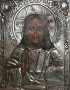 Jesus Christ Vintage Orthodox Hand Painted Icon With Silverplated Facing Oklad