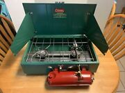 Vintage 1970and039s Coleman Cooking Stove W/ Box - 413g499 Two Burner Green. Clean