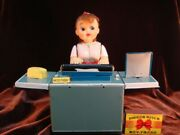 Nomura Toy Typewriter Female 1950and039s Tin Doll H26.1cm Battery Operated Japan Made