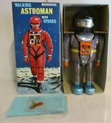 Osaka Tin Toy Walking Astroman Mechanical Grey Wind-up Figure With Sparks Japan