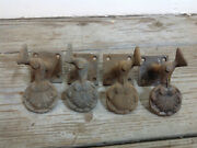 Antique Lot 4 Cast Iron Shutter Dogs Shell Shape Salvaged Hardware Plate Mount