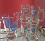 Old Style Beer Pitcher With 4 Matching Beer Stein Mugs