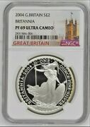 2004 Great Britain Britannia £2 Two Pound Silver Proof 1oz Coin | Ngc Pf69 Uc