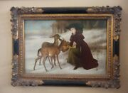 Woman With Winter Deer Painting By John Bowen In Ornate Black And Gold Frame