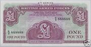 British Armed Forces £1 One Pound 888888 4th Series Unc Solid 8's Banknote