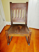 Antique Mission Arts And Crafts Oak Rocking Chair Stickley / Limbert Style