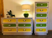 Vintage Green And Yellow Dresser Highboy And Headboards Set Mid Century Modern