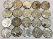 Roll Of 20 Mixed Dates Peace Silver Dollar Coins. Xf Cleaned Or Flawed. Ekr75