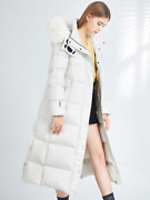 2021 Womenand039s Thick Warm Winter Fox Fur Collar White Duck Down Jacket Top Hot