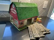 Vtg Marx Tin Litho Lazy-day Farms Barn With Fencing And Some Animals Access