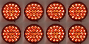 Set/8 4 Round Pearl Red Led Stop Turn And Tail Lights W/ Smoked Lens - S/t/t