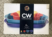 Cw By Corning Ware Stoneware Bakeware Set - 4 Pieces - New - Hard To Find