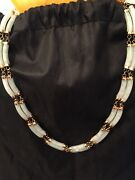 14 K Yellow Gold Light Green Jade Jadeite Sectional Necklace Vintage Asian Style