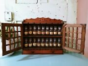 Set 18 Vintage Glass Apothecary Spice Jars With Wood Rack Cabinet Japan Mcm 🦋