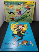 Vintage 1950s Built-rite Frame Tray Puzzle Set Of 2 Millie Moth And Hidden Objects