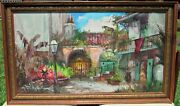 Large Vintage Colette Pope Heldner New Orleans Courtyard Oil Painting Signed