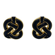 And Co Onyx Inlay Knot Earrings