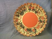 Vintage Halloween Candy Serving Bowl Cardboard With Witches W Germany 10 X 2