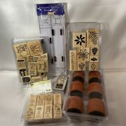 Stampin Up Lot Rubber Stamps Wood Mounted Wheels Guide Christmas Foliage