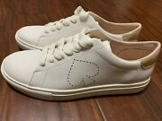 New Kate Spade Angelise White Leather Silhouette Sneakers Tennis Shoes Size 8.5