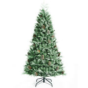Costway 7ft Snow Flocked Artificial Christmas Tree W/715 Pvc And Pe Branch Tips