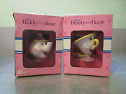 Vintage Disneyand039s Beauty And The Beast Mrs. Potts And Chip Figurines W Box By Schmid