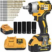 Cordless Impact Wrench Kit With 1/2 Inch Chuck, 1 Battery Drill/driver