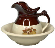 Vintage Mccoy Pottery Set 7515 Pitcher And Bowl Wash Basin Pears Walnuts Chestnuts