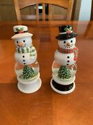Snowman Christmas Tree Snowglobe Salt And Pepper Shakers Never Used.