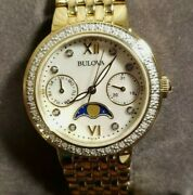 Bulova Moonphase Diamond Watch With 32mm White Pearl Face And Golden Bracelet