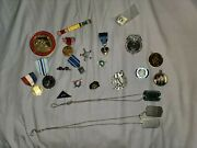 Lot Of Vintage Military / Police / And Others Medals Badges Pins