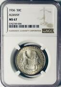 1936 Albany Commemorative Silver Half Dollar - Ngc Ms-67 - Mint State 67