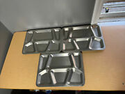 Vintage Usn Military Mess Hall Cafeteria Trays Stainless Steel Metal - Lot Of 3