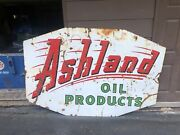 Rare Ashland Oil Gas Double Sided Porcelain Sign 8andrsquox5andrsquo Advertising Sign