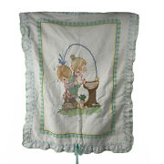 Precious Moments Cross Stitch Baby Blanket Water Fountain Boy Girl Green White