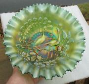 Northwood Peacocks On The Fence Green Carnival Glass Pce Bowl