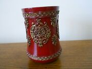 Croscill Imperial Red Gold Bathroom Tumbler Cup New 1st Quality