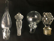 Vintage Decanter Stoppers Crystal And Glass Various Shapes Sizes Mixed Lot Of 5