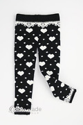 Sissymini   Black Infant And Toddler Super Soft Thick Thermal Heart Leggings Nwt