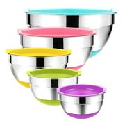 5pcs Stainless Steel Mixing Bowls 18-26cm Diameter Metal Nesting Bowls With V3o8