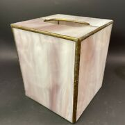 Vtg Stained Slag Glass Style Pink Purple White Tissue Box Cover Art Deco
