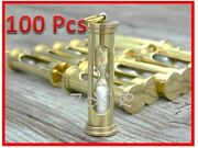 Lot Of 100 Pcs Brass Vintage Nautical Sand Timer-necklace And Keychain Hour Glass