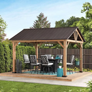 14and039 X 12and039 Cedar Outdoor Pavilion With Steel Roof