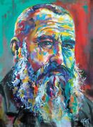 Original Painting Portrait Of Claude Monet In Impressionist Style Colorful Beard