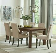 Rustic Country 9-piece Dining Set Solid Wood Table And Parson Side Chairs Brown
