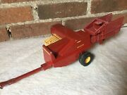 """Farm Toy, New Holland Hayliner Hay Baler, Red And Yellow, Ertl 318-8601 12x7"""""""