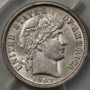 1902-o Barber Dime Pcgs Au-55 - Great Luster And Strike