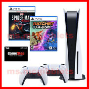 New Playstation 5 Bundle 2 Cont Ratchet And Clank Spider-man Mm 50 Gamestop Gc